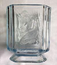 Superbe French Blue Pressed glass vase agenouillé Lady Anémone LEUNE? circa 1900