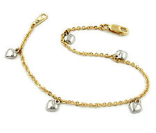 375 ECHT GOLD *** Armband Ankerkette mit Herzen bicolor 18,5  cm
