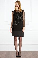 New COAST PASHONA BLACK Cocktail Evening Long Sleeve Dress Size 10 Wedding