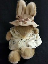 "Plush Brown Easter Bunny New with NoTags 9"" tall Yellow Spring Dress Brown Hat"
