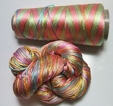 100% Pure Reeled Mulberry Finest Silk Filature Yarn Candy Rainbow RS001 Lot B