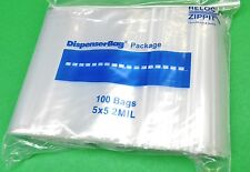"100 5""x5"" ZIPLOCK BAGS 2MIL CLEAR Poly SQUARE ZIP LOCK Reclosable 5x5 BAG 2 Mil"