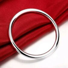 925 Sterling Silver Filled Solid Classic 5.5mm Plain Round Bangle Bracelet Gift