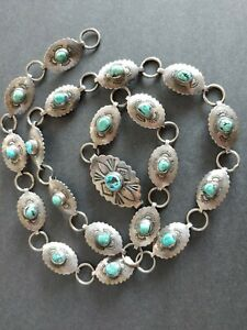 """Vintage Native American Hand Made Sterling Silver & TURQUOISE Concho BELT 33.5"""""""