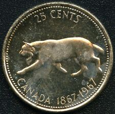 """1967 Canada 100th Silver """"Bobcat"""" 25 Cent Coin ( 5.83 Grams )"""