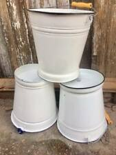 Large vintage white/blue enamel buckets coal rustic decor display 28cm MINT