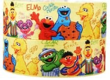 "7/8"" 2 YARDS Sesame Street Grosgrain Ribbon Cookie Monster Elmo Crafts Hair Bows"