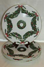 "Georges Briard Deck Halls Christmas Xmas 10-1/4"" Dinner Plate Stoneware Set of 4"