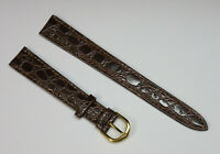 TWBC Genuine Leather Croco Grain 18 mm Brown Watch Strap Band LONG Vintage NOS