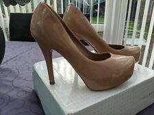 new look nude patent platform heels size 4