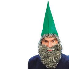 Green Dawrf Hat & Beard Fancy Dress Set Elf Pixie Gnome Prop