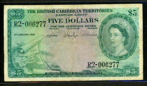 British Caribbean Territories 1953-1964 ( 1961 ), 5 Dollars, 006277, P9c, VF