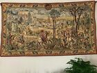 """Old Brussels Spring Flanders Tapestries Belgium Woven Wall Hanging 48"""" x 83"""""""