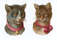 Victorian Scrap 2 Cats with Collars & Bells 2 X 3 inches each