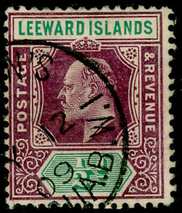 LEEWARD ISLANDS SG29a, ½d dull purple & green, FU. Cat £22. WMK MULT CA. ©