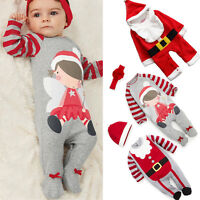 Newborn Baby Girl Boys Christmas Costume Long Sleeve Romper Outfits Clothes Xmas