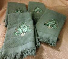4 Moss Green Avanti Embroidered Christmas Guest Fingertip Towels 100% Cotton