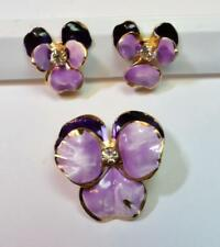 Vintage Lilac Purple Enamel Rhinestones Set Screw Earrings Pin Brooch