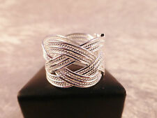 Unisex Silver Plated Adjustable Mesh Multi Strand Weave Ring with Free Gift Bag