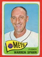 1965 Topps #205 Warren Spahn VG-VGEX+ WRINKLE MARKED New York Mets FREE SHIPPING