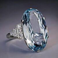 Verlobungsring Damen Ring Strass Kristall Aquamarin Schmuck Fingerringe Mode