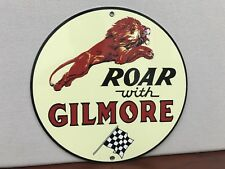 Roar Gilmore Racing gasoline garage Oil Gas man cave  vintage round sign Rep