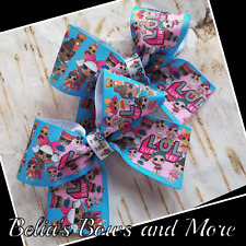 "Girls. pigtails handmade bows 3.5"" wide"