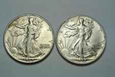 1942 & 1943 Walking Liberty Sliver Halves, XF/AU Condition - C5734