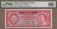 BELIZE: 5 Dollars Banknote, (UNC PMG66), P-35a, 01.06.1975, No Reserve!