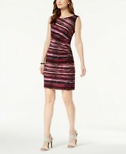 $169 Connected Women'S Purple Striped Sleeveless Ruched Bodycon Dress Size 14p