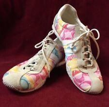 Coach Lace up Katelyn Shoes White w Pink Green Yellow C Size 9M