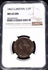 1862 Great Britain 1/2 Penny, NGC MS 63