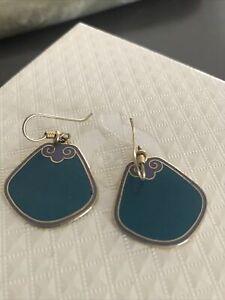 Vtg Laurel Burch Signed Gold Tone  Dangle Hook Pierced Earrings Blue/purple