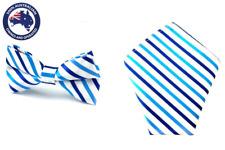 Men's Blue and White Stripes Bowtie & Pocket Square Matching Wedding Tie Hankies