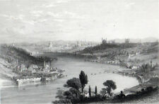 CONSTANTINOPLE depuis les hauteurs au-dessus Eyoub 1842 Henry Adlard antique Gravure