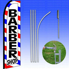 Feather Flag Swooper Advertising Flag Banner Sign 15' Tall Kit - Barber Shop rwb