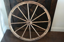 "DECORATIVE RUSTIC 36"" WOODEN WAGON WHEELS WOOD WHEEL BURNT FINISH W STEEL RIM"
