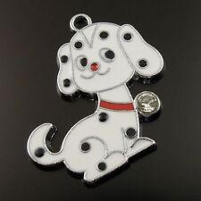 16pcs Rhodium Plated Rhinestone Puppy Dog Cartoon Alloy Enamel Pendant Findings