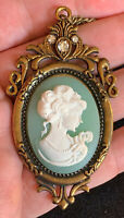 Vintage Unique Teal Green Cameo White Face Rhinestone Pendant Necklace 29""