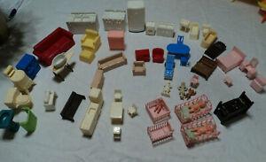 49 vintage 1950's Marx plastic dollhouse furniture: kitchen, living room, baby