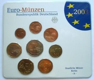 GERMANY - OFFICIAL MINT SET (2003) UNC - 8 EURO COINS - BERLIN MINT A