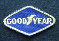 """GOODYEAR TIRES EMBROIDERED SEW ON ONLY PATCH AUTOMOBILE UNIFORM BLUE 3"""" x 1 7/8"""