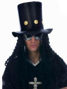 Mens Slash Guns N Roses Rocker Fancy Dress Top Hat & Wig Accessory