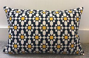"Dark Blue Mustard Yellow Moroccan  Cushion Cover 16x24"" 40x60cm"