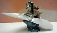 """Let'S Fly Away Dog On """"Paper"""" Airplane Figurine By Lladro #6665"""