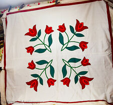 "1940s-50s - Red & Green - Applique - Triple Tulip - Quilt Top - 82""x 88"""