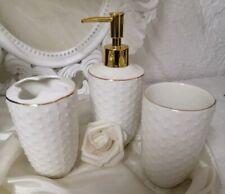 3tlg.Badzimmer Set White Toothbrush Mug Soap Dispenser Vintage Shabby Brocade