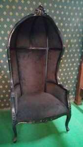 Gothic Dead Black Designer Hooded Porter Chair 4 prop , movie ,music video hotel