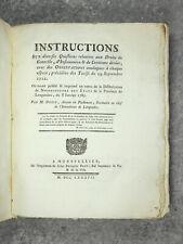 DUPIN. INSTRUCTIONS SUR DIVERSES QUESTIONS RELATIVES AUX DROITS DE CONTRÔLE 1787