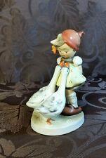 "Vintage NAPCO Porcelain Figurine ""Goose Girl"" SH1D Japan EUC Child animal bird"